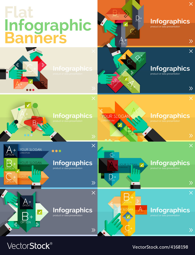 Set of infographic flat design banner with hands
