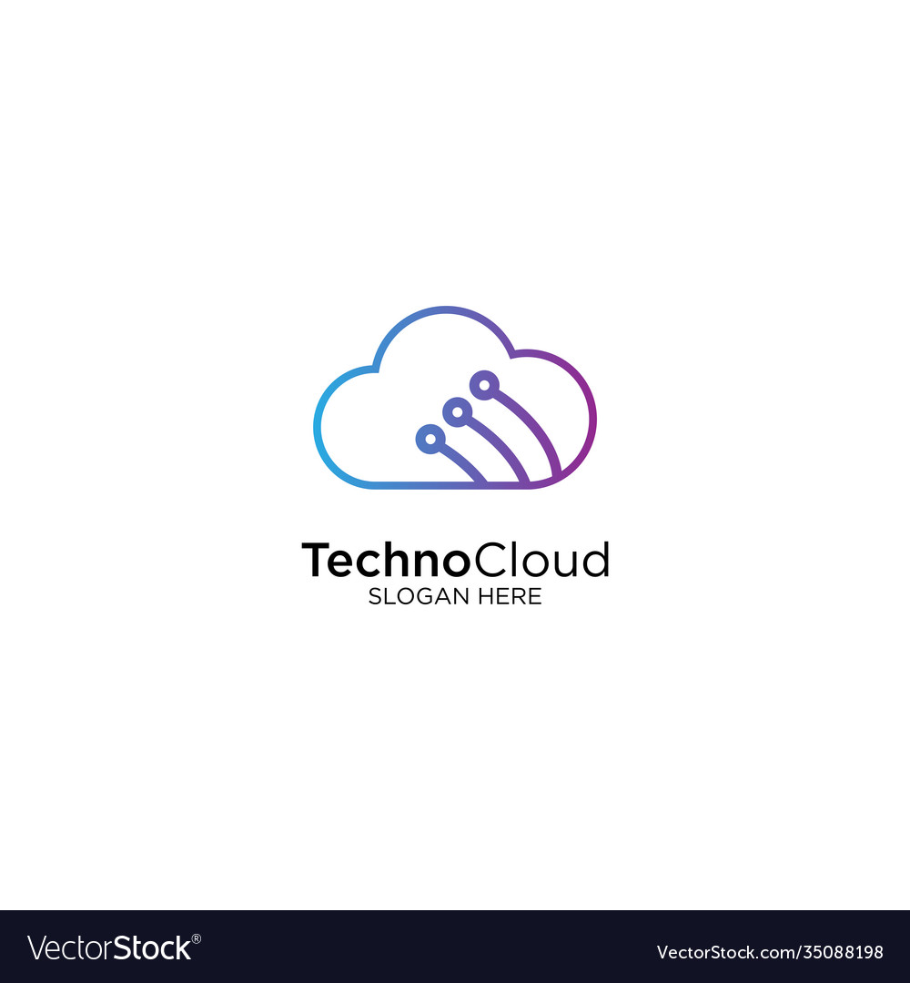 Technology cloud logo design with monoline style