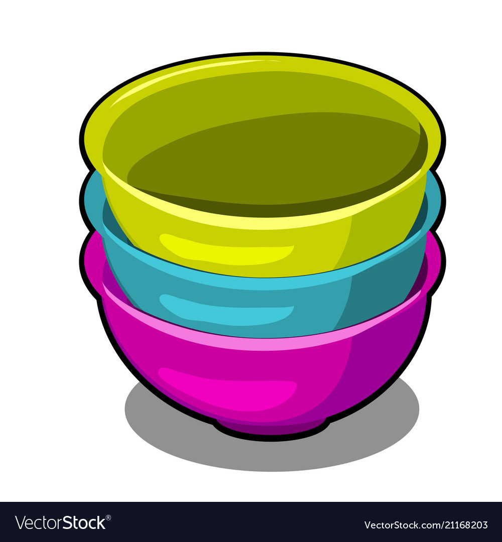 A stack of polymer bowls of different colors