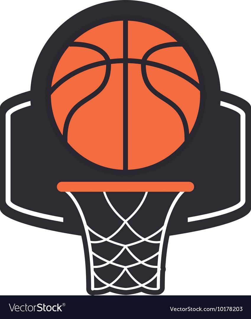 Basketball backboard and net icon
