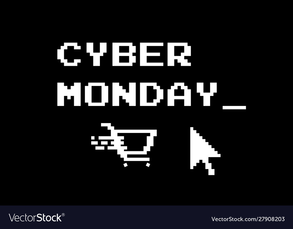 Black background with pixel style shopping cart
