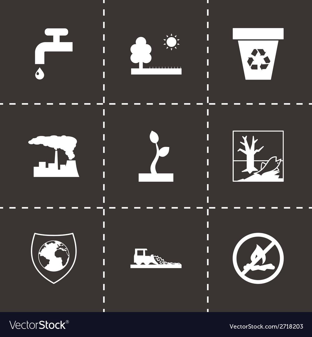Black eco icons set