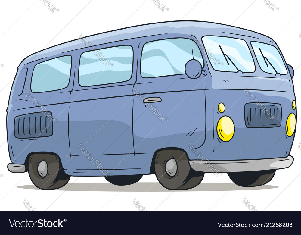 Cartoon cute blue retro van bus icon