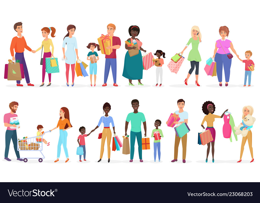 Cartoon people carrying shopping bags with