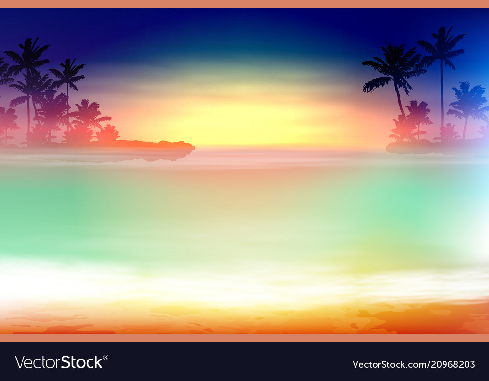Colorful sea sunset with palm trees