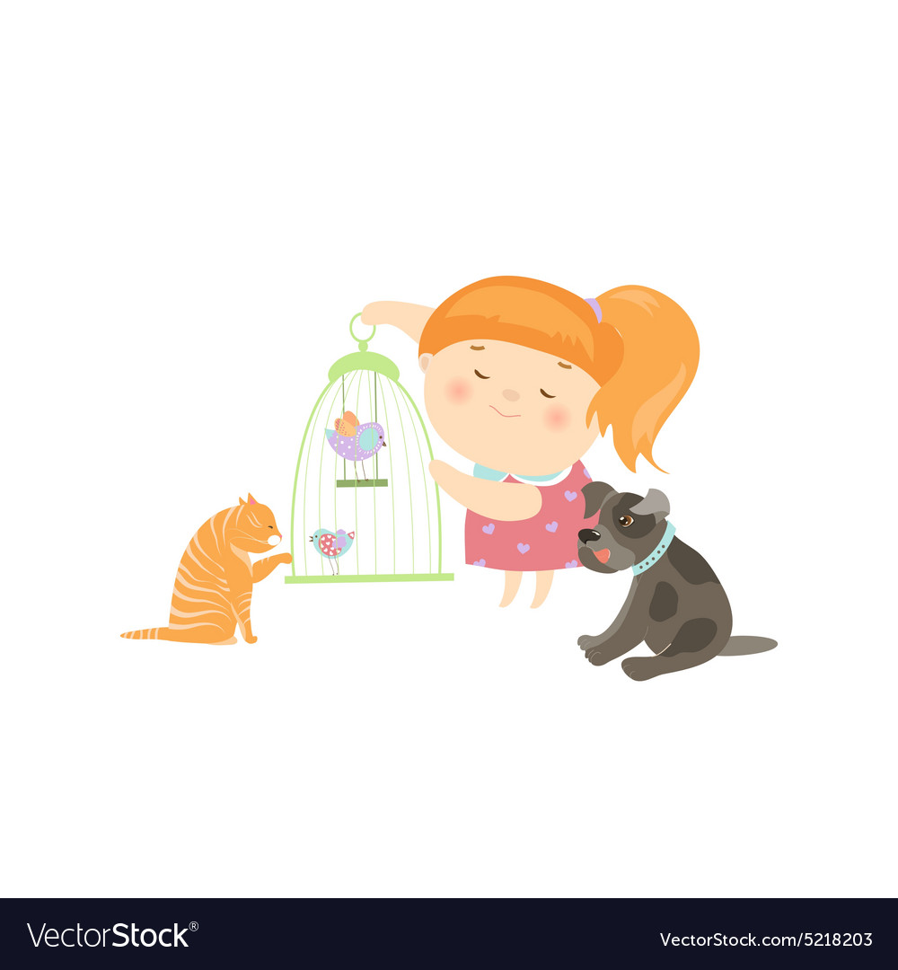 Cute Girl Surrounded By Different Types Of Pets Vector Image