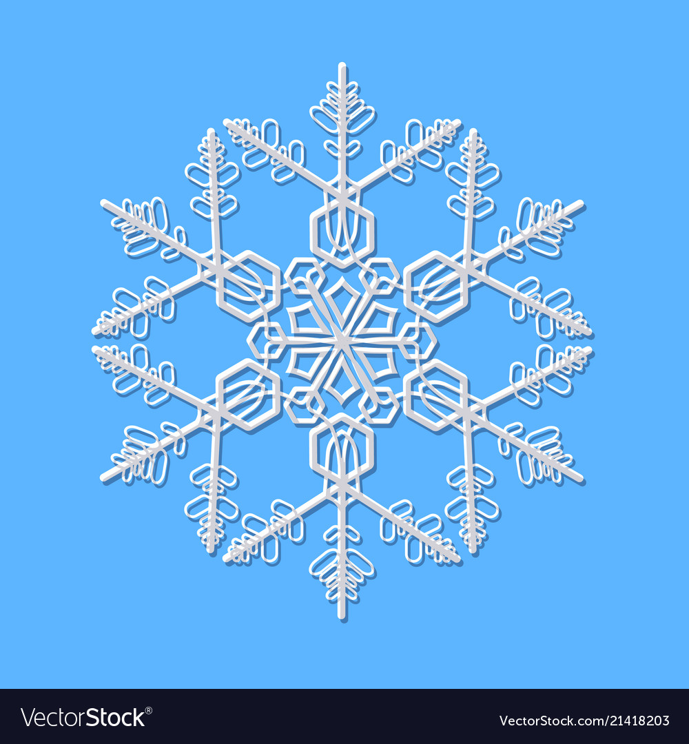 Delicate beautiful white snowflake on blue