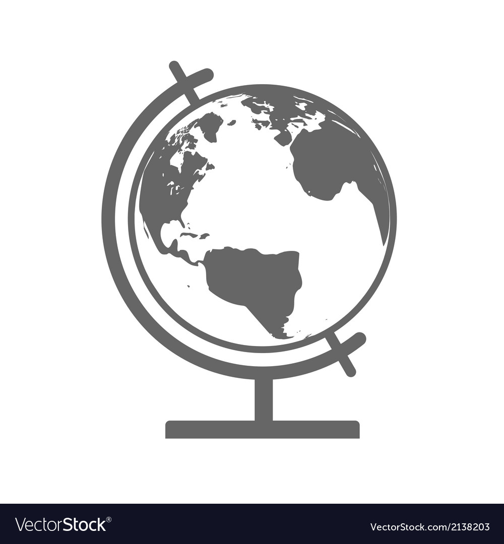 Earth Globe Emblem Icon vector image