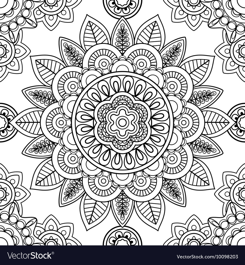 - Ethnic Seamless Pattern Coloring Pages Template Vector Image