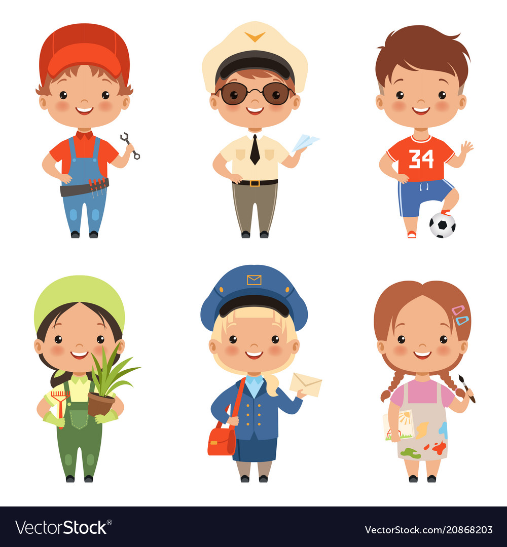 Funny cartoon children characters of various