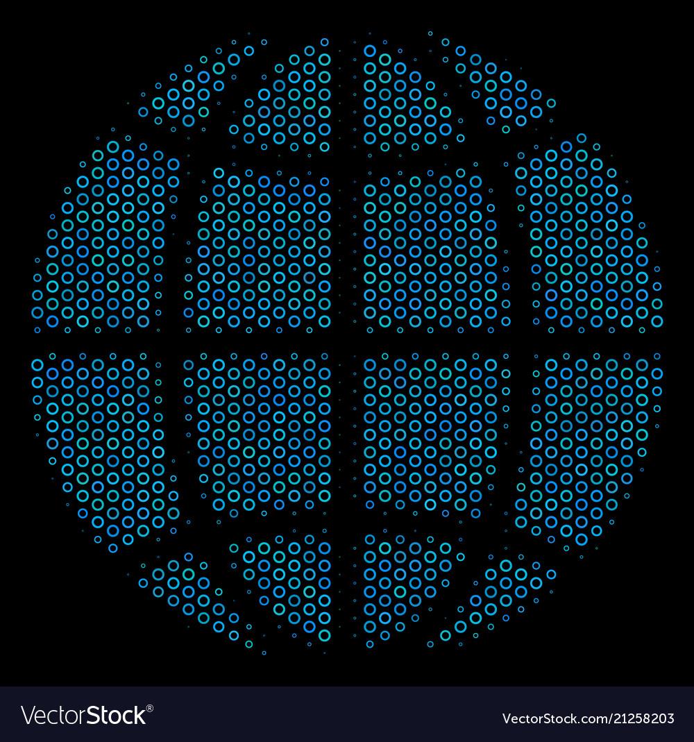 Globe collage icon of halftone bubbles