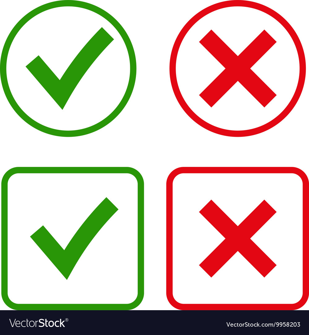 Green checkmark OK and...X And Check Icon