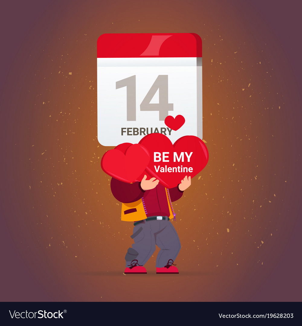 Happy Valentines Day Greeting Card Man Holding Red Vector Image On Vectorstock