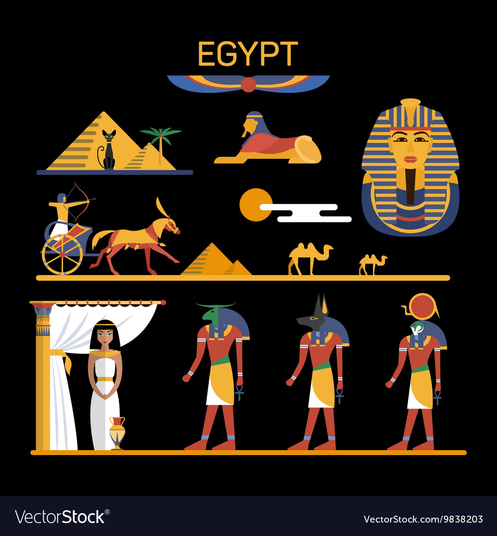 Set of Egypt characters with pharaoh gods