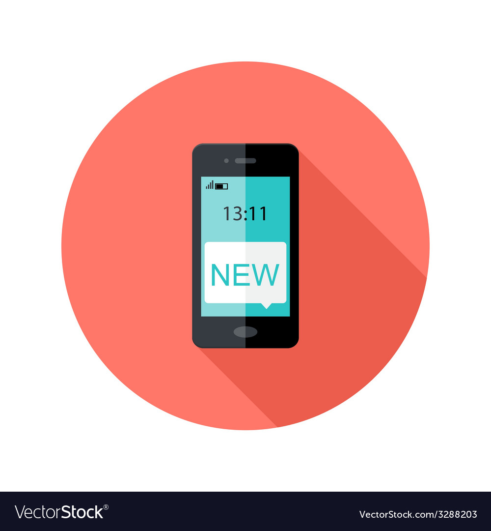 Smartphone App Notification Circle Flat Icon vector image
