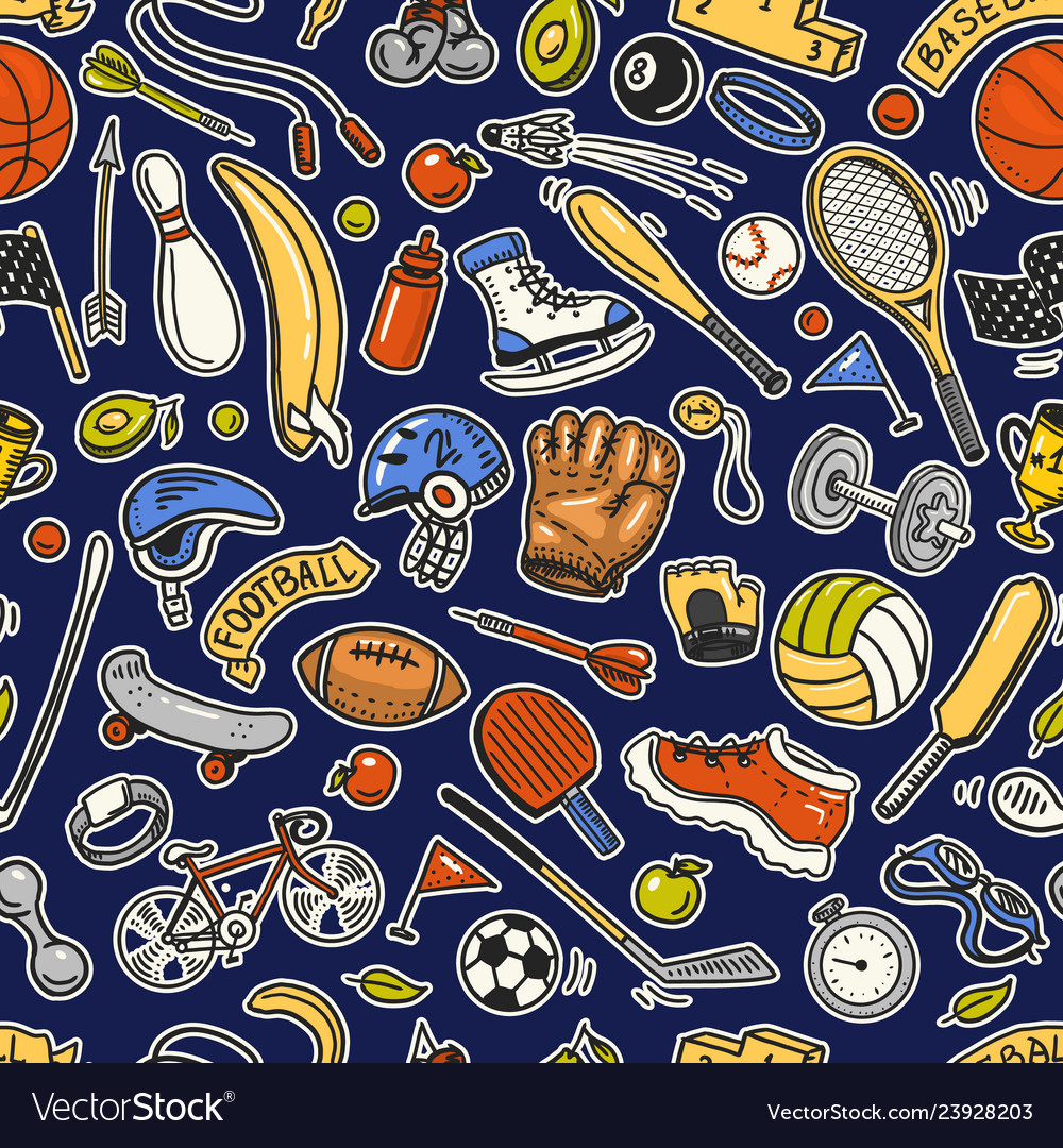 Sport seamless pattern icons doodle style