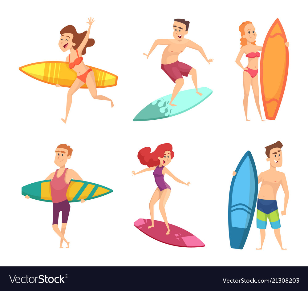 Summer surf characters funny mascots in
