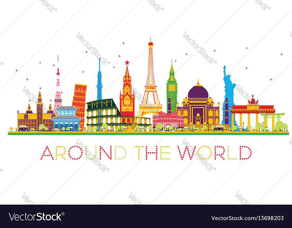 Travel concept around the world with famous
