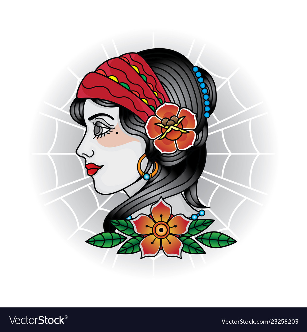 Vintage girl face tattoos