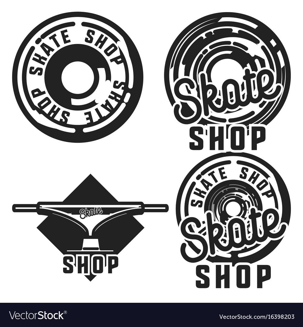 Vintage skate shop emblems vector image