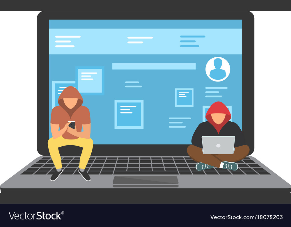 Young hackers sitting on