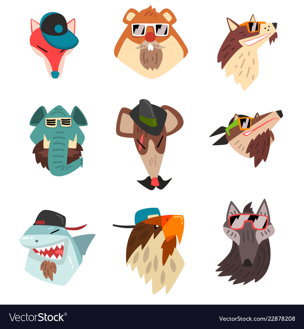 Animals wearing hats and sunglasses hipster