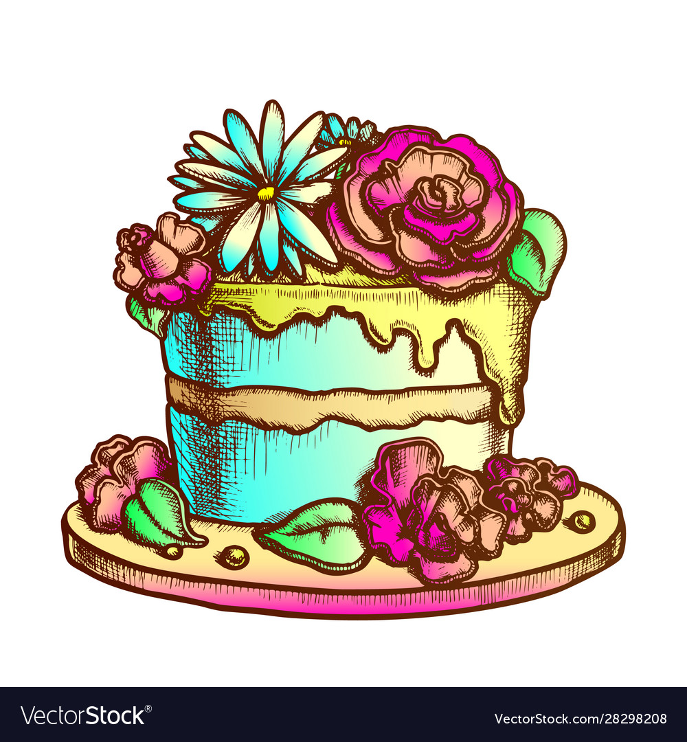 Outstanding Birthday Cake Decorated With Flowers Ink Vector Image Funny Birthday Cards Online Alyptdamsfinfo