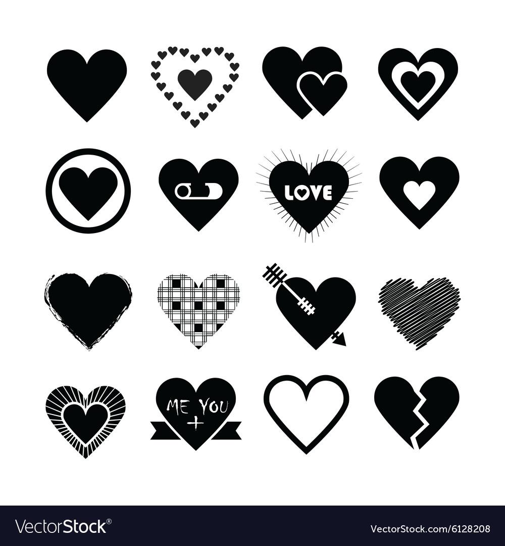Black silhouette valentines day hearts icon set
