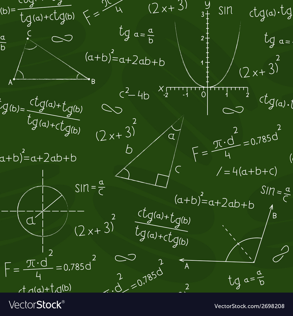 Blackboard with geometric shapes and formulas vector image
