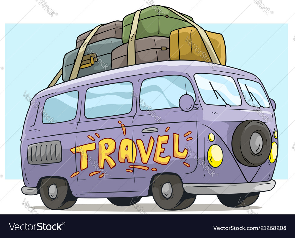 Cartoon cute violet retro van bus with luggage