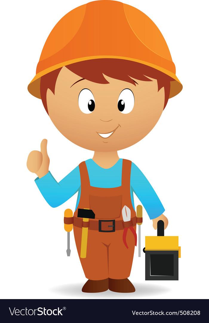 Cartoon handyman with tools belt and toolbox vector image