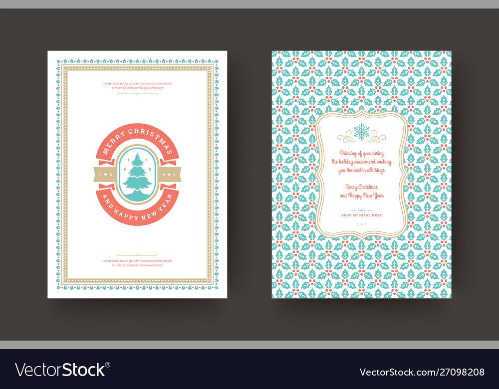 Christmas greeting card vintage typographic design