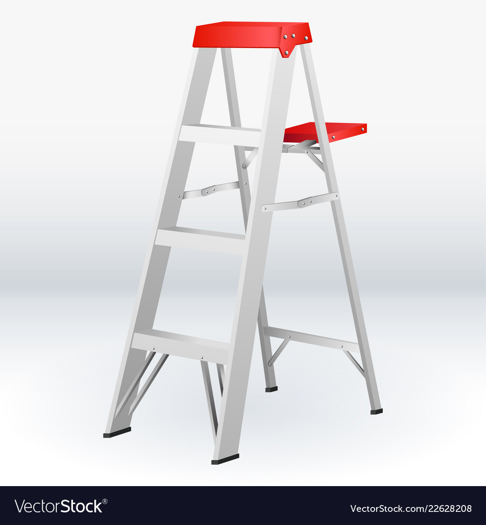 Construction white and red folding ladder