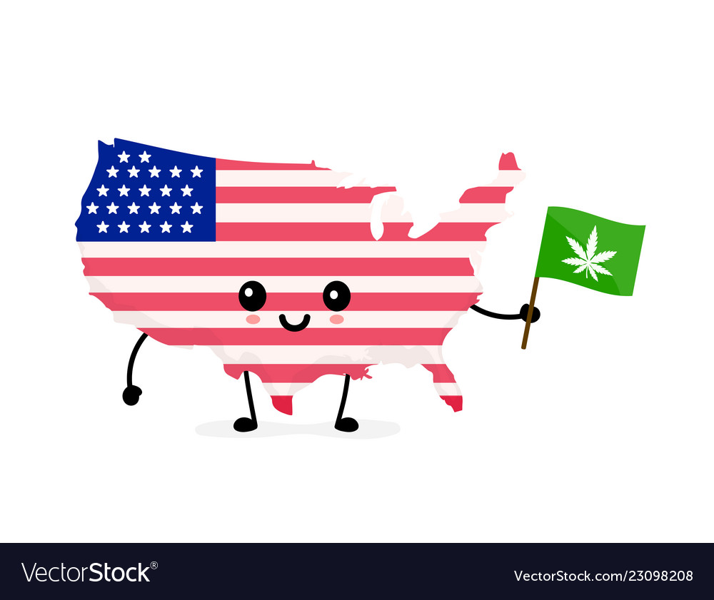 Cute funny smiling happy usa map