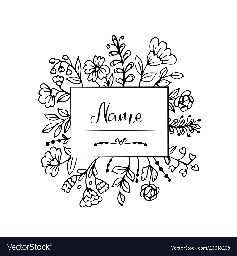 Doodle flowers and leaves label