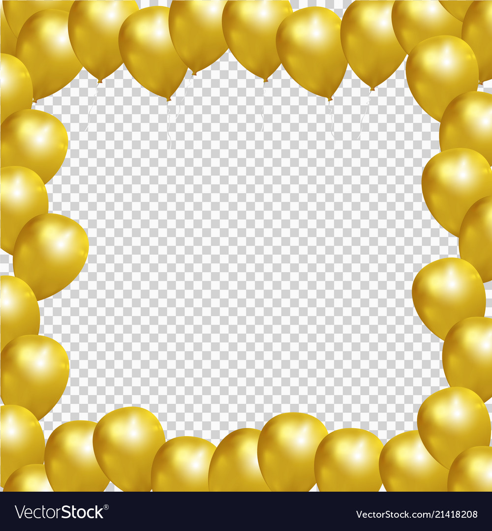 Festive frame with gold balloons on transparent