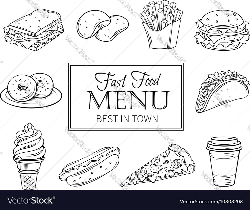 Hand drawn icons fast food
