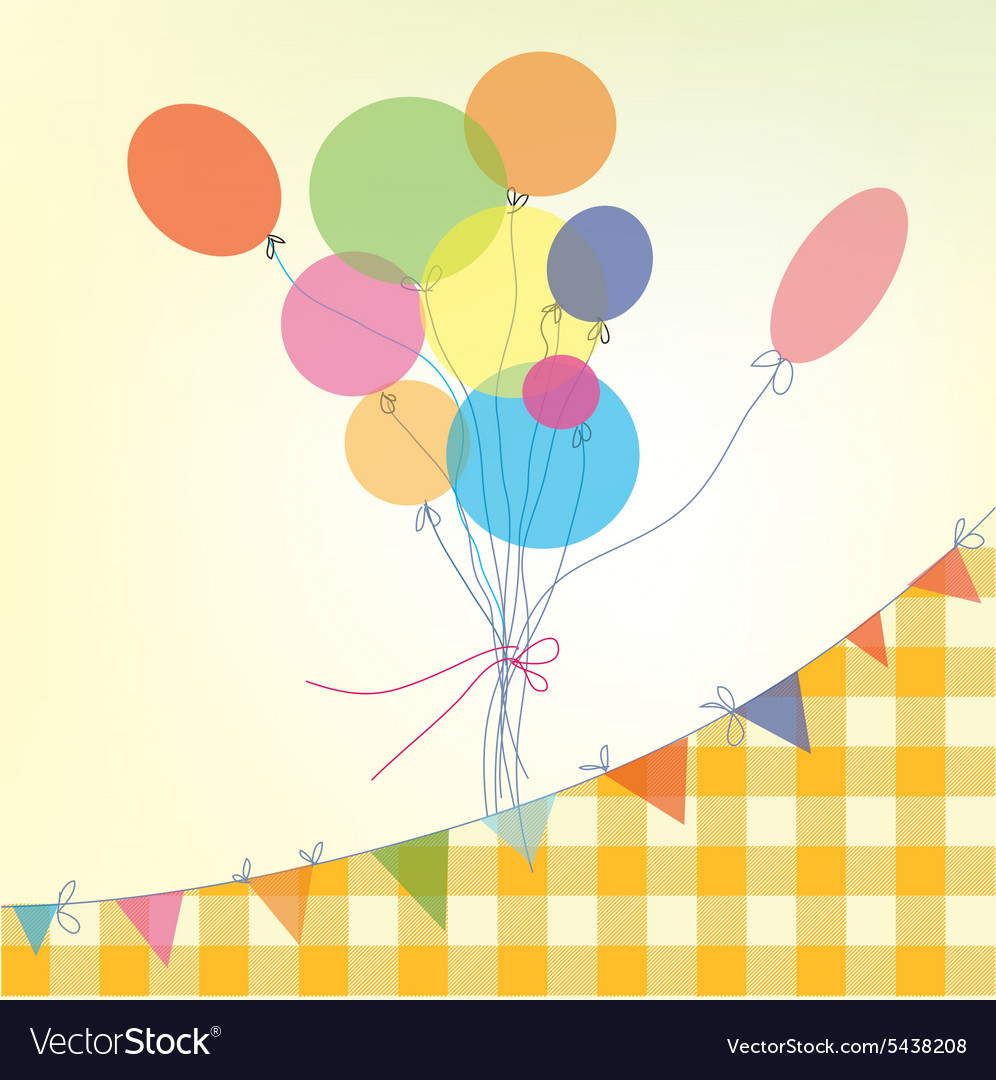 Holiday background with balloons bunting flags and