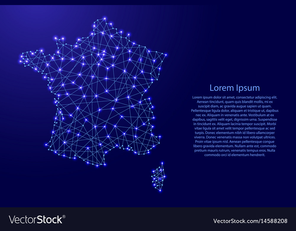 Map of france from polygonal blue lines