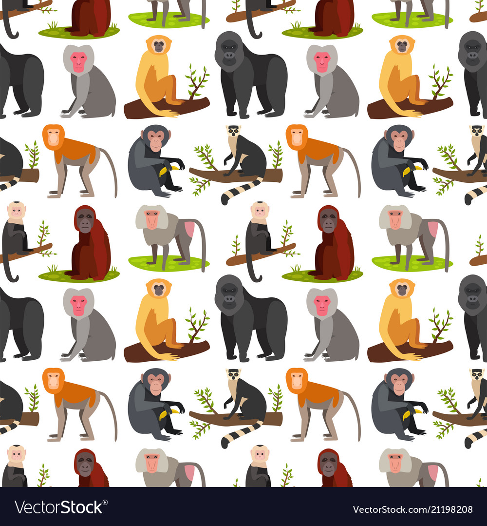 Monkey character animal breads seamless pattern