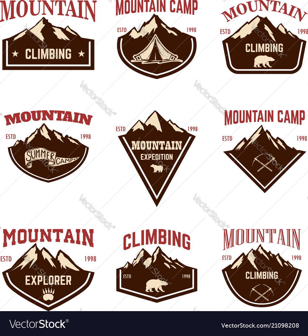 Mountain camp emblem templates design element for