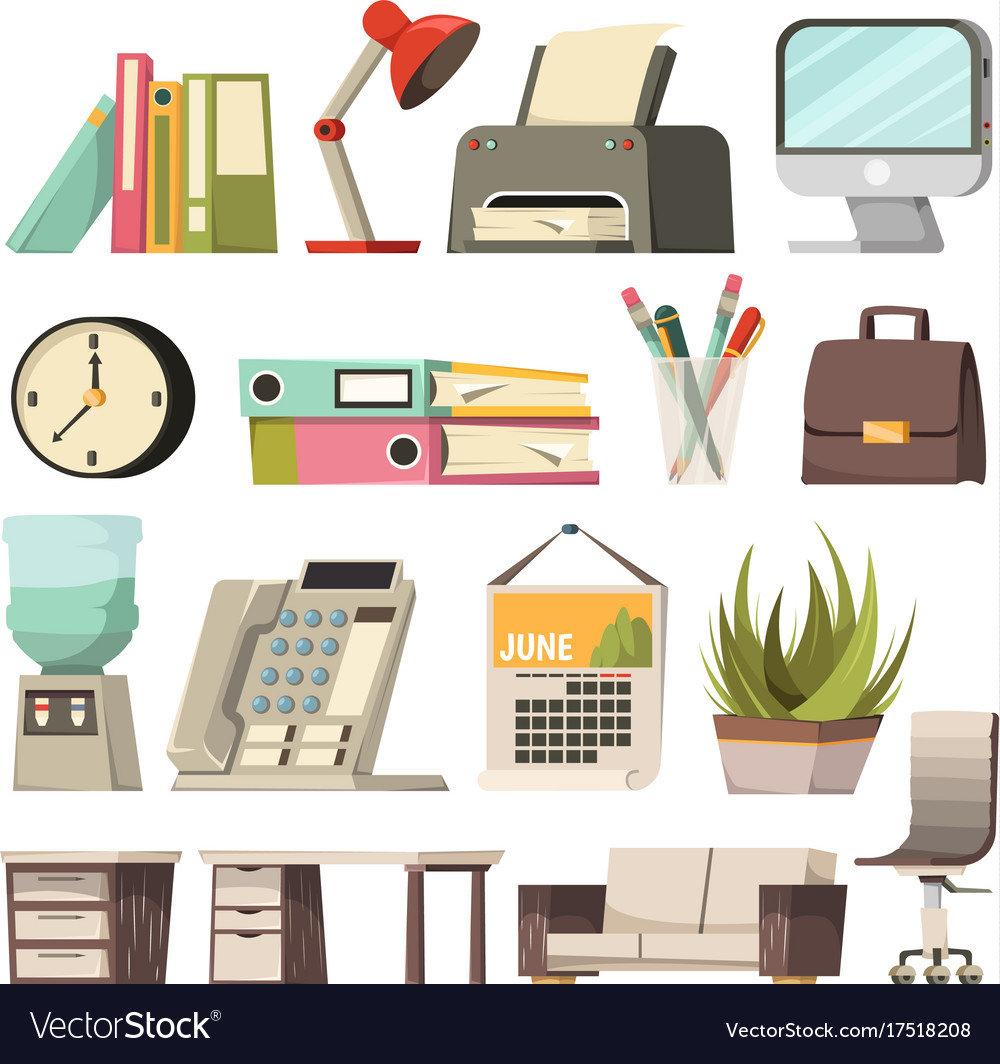 Office orthogonal icon set vector image