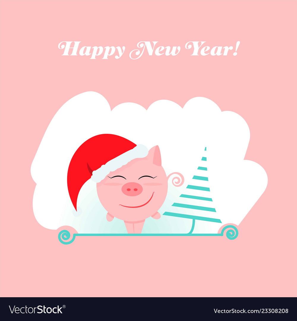 Pink pig new year 2019 happy holiday design