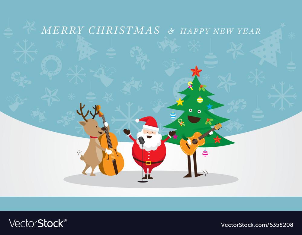 Santa claus snowman reindeer playing music
