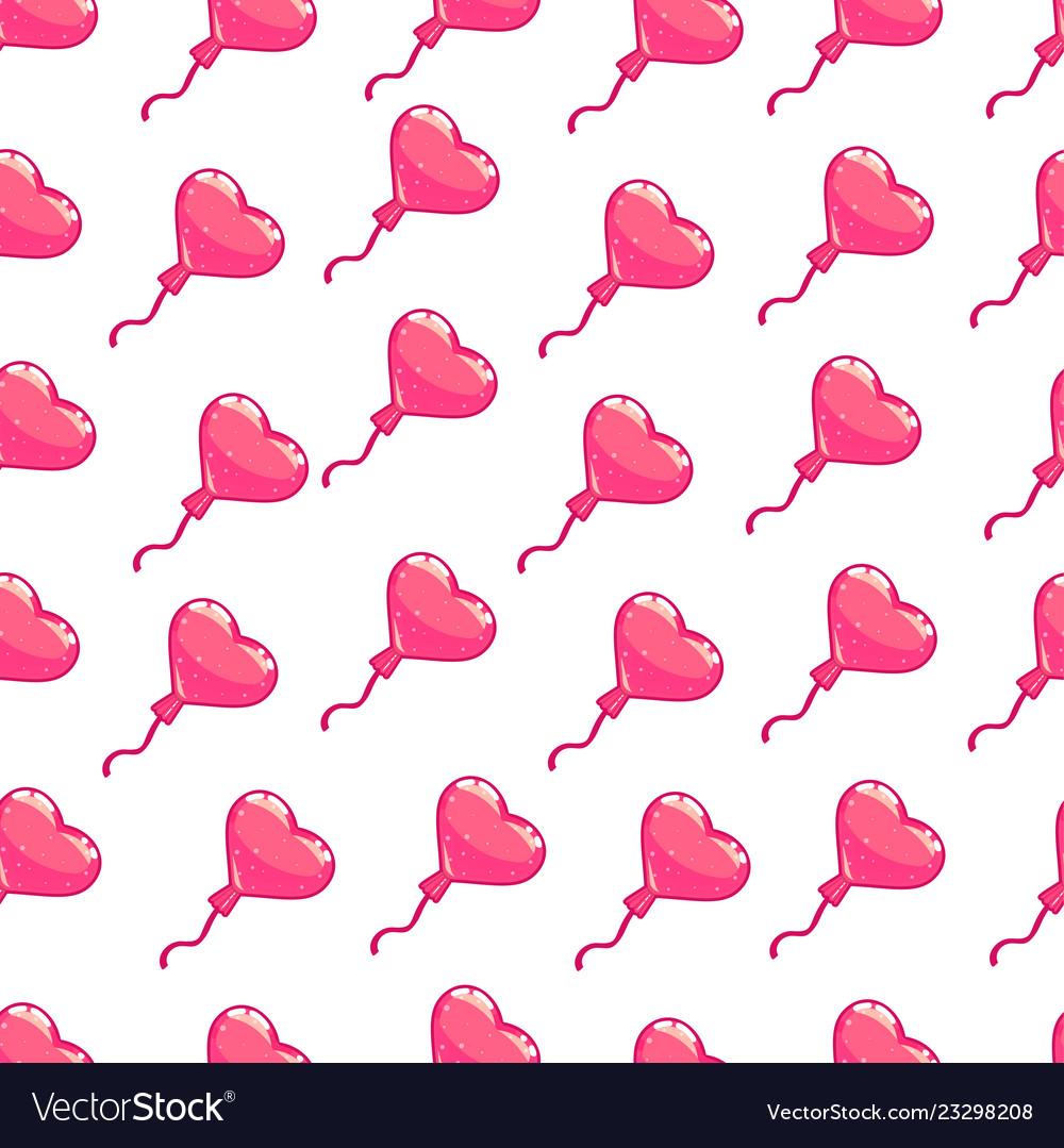 Seamless pattern of pink hearts balloon