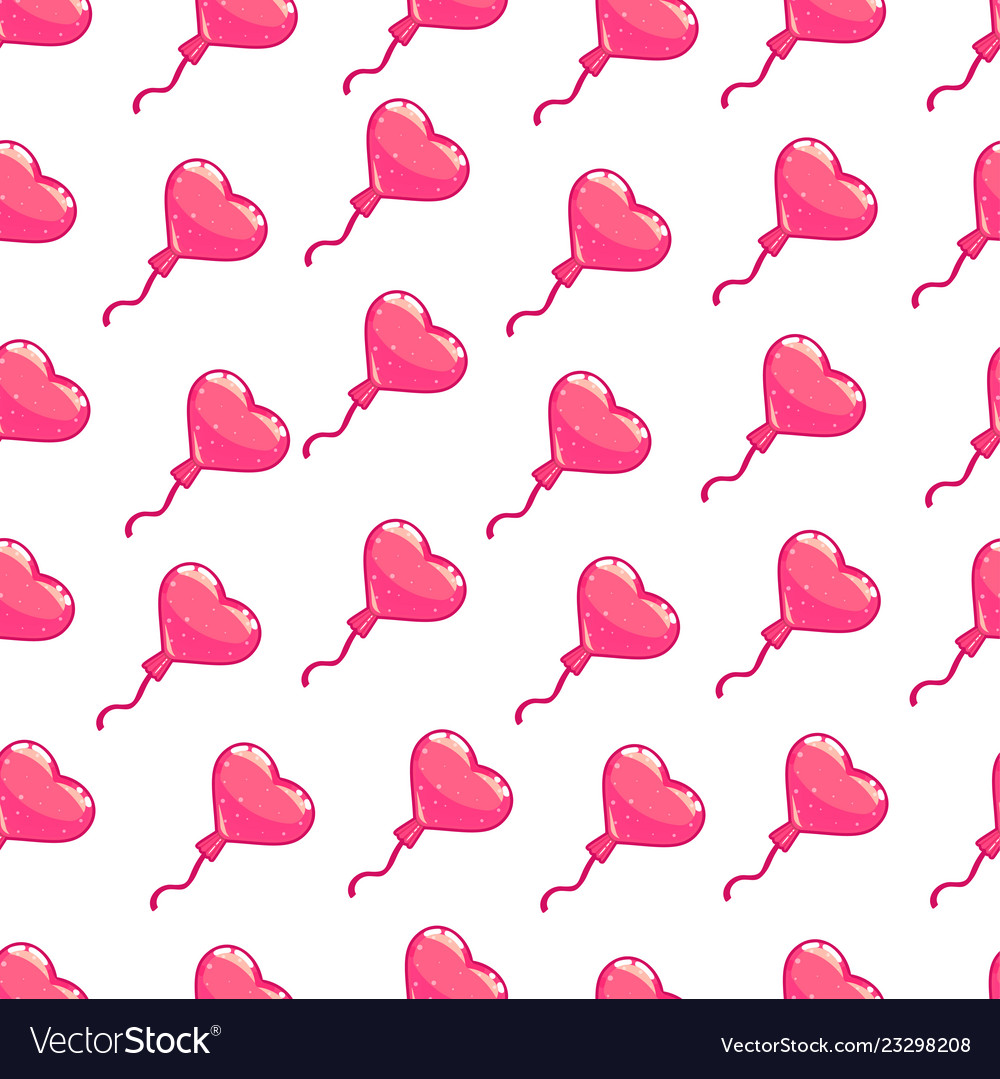 Seamless pattern pink hearts balloon