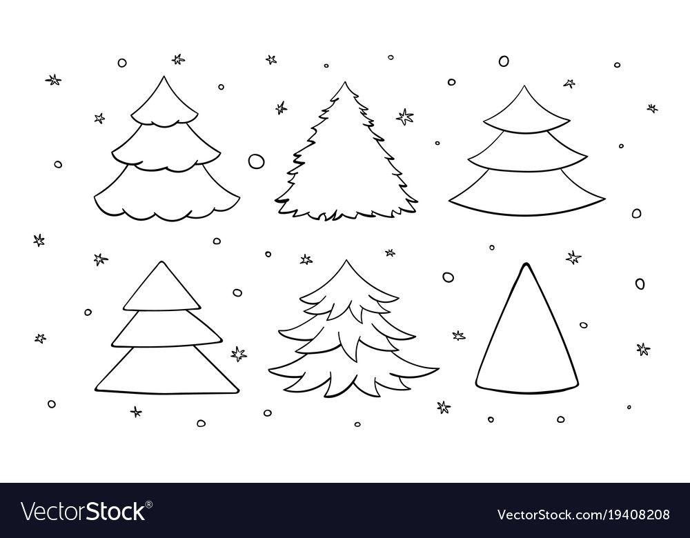 Set Of Black And White Blank Christmas Trees