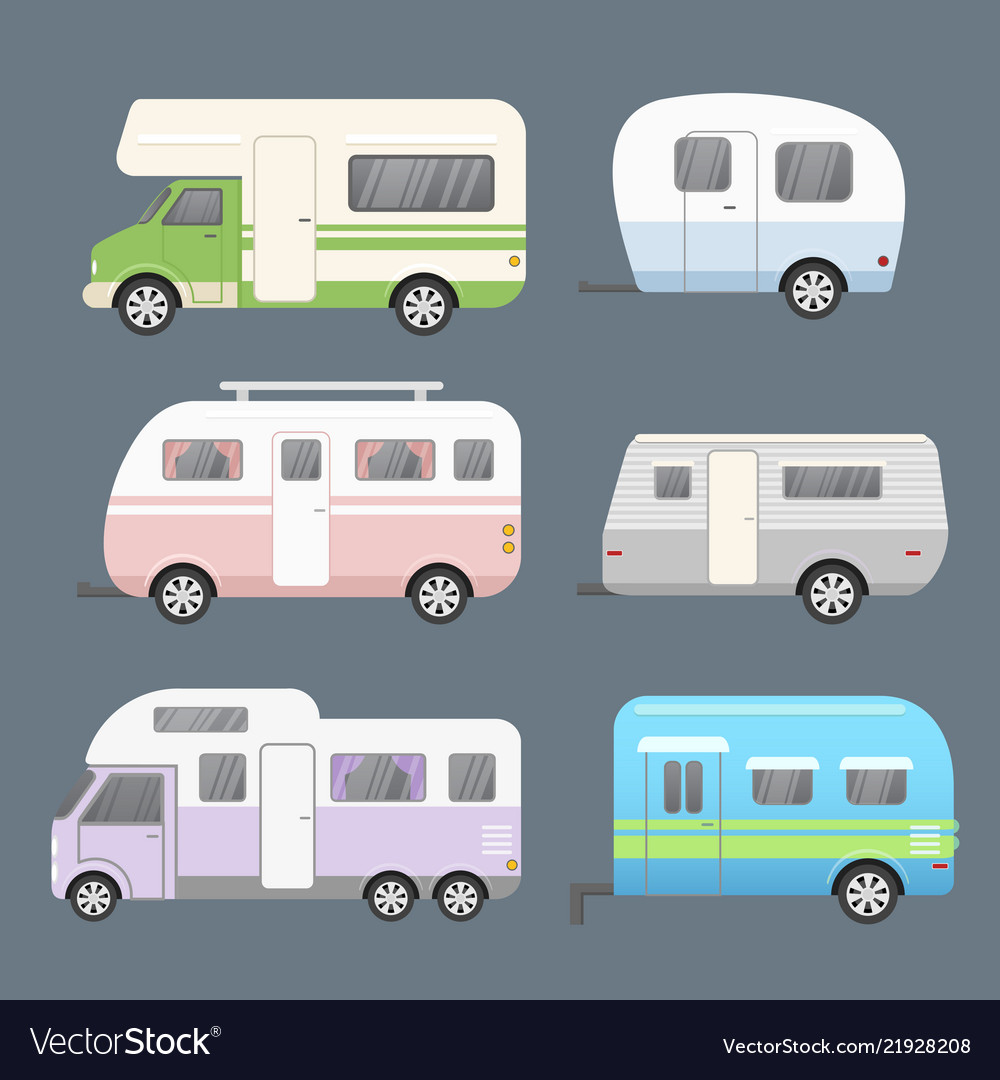 Set of different types camping