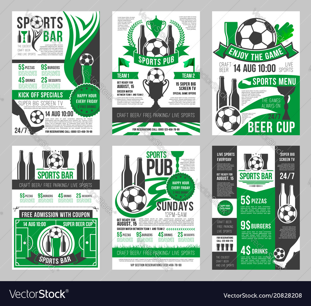 Soccer sports bar football pub menu posters
