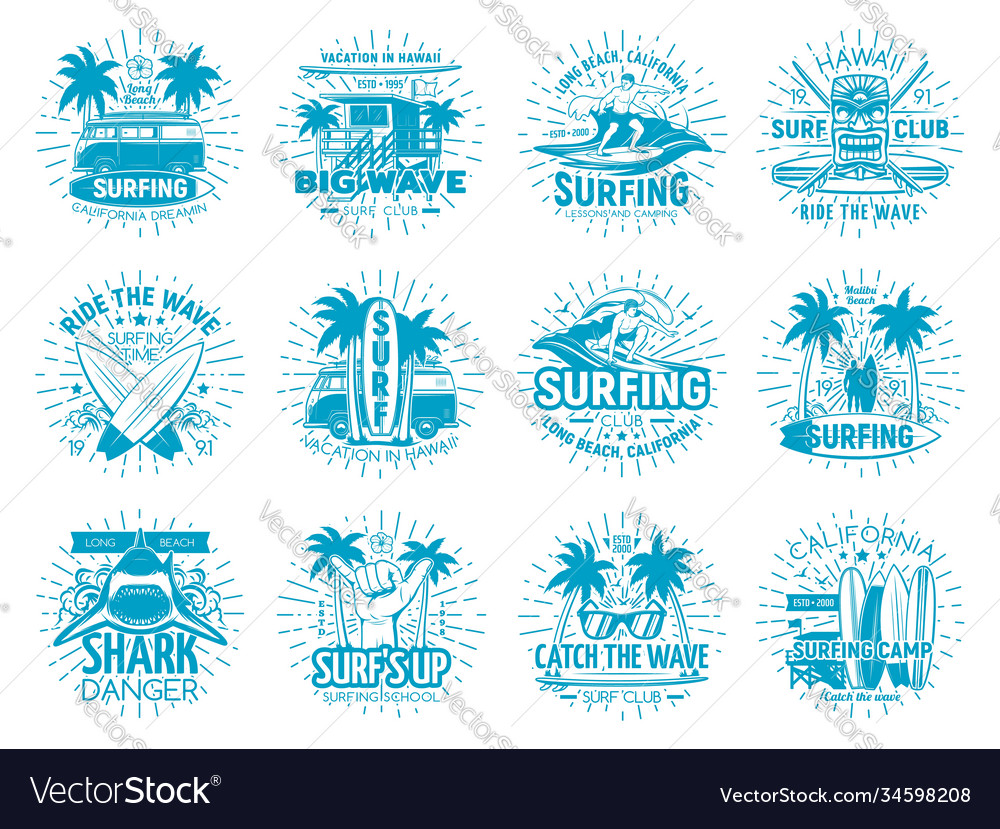 Surfing sport isolated icons surfer club